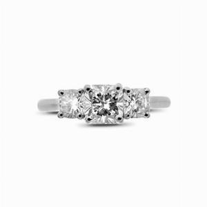 Cushion Cut Diamond Three Stone Ring - 1.00ct